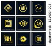 initial letter ah logo set... | Shutterstock .eps vector #1214034205