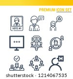 simple set of  9 outline icons... | Shutterstock .eps vector #1214067535