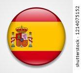 flag of spain. round glossy... | Shutterstock .eps vector #1214075152