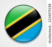 flag of tanzania. round glossy... | Shutterstock .eps vector #1214075158