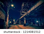 dark and eerie urban city alley ... | Shutterstock . vector #1214081512