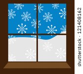 winter window with snowflakes | Shutterstock .eps vector #121408162