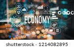 economy with blurred city... | Shutterstock . vector #1214082895