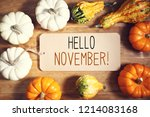 hello november message with... | Shutterstock . vector #1214083168