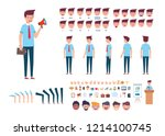 front  side  back view animated ... | Shutterstock .eps vector #1214100745