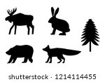 bear  moose  rabbit  fox  fir... | Shutterstock .eps vector #1214114455