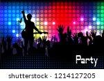 concert rock performer cheerful ...   Shutterstock . vector #1214127205
