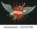 vector heart with wings and... | Shutterstock .eps vector #121412782