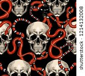 skulls and red snakes. vector... | Shutterstock .eps vector #1214132008
