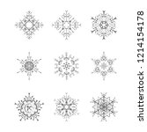 set of snowflake for the new... | Shutterstock . vector #1214154178