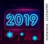 2019 happy new year neon text.... | Shutterstock .eps vector #1214164585
