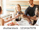 group of young multiracial... | Shutterstock . vector #1214167078