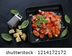 cast iron serving pan with...   Shutterstock . vector #1214172172