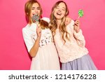 two young beautiful smiling... | Shutterstock . vector #1214176228