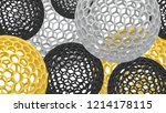 3d spheres with holes.... | Shutterstock . vector #1214178115