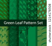 green leaf pattern set | Shutterstock .eps vector #1214178508