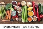 healthy vegan and vegetarian... | Shutterstock . vector #1214189782