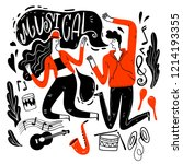 couples are dancing in music...   Shutterstock .eps vector #1214193355