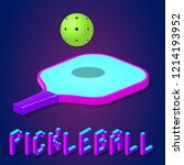racket or paddle and ball for... | Shutterstock .eps vector #1214193952