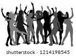 bachelorette party dancer woman ... | Shutterstock .eps vector #1214198545