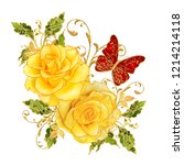 golden textured curls.... | Shutterstock . vector #1214214118