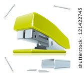 stapler and staples.... | Shutterstock .eps vector #121422745