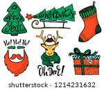 doodle christmas set. cute hand ... | Shutterstock .eps vector #1214231632