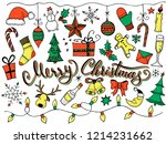 doodle christmas set  color... | Shutterstock .eps vector #1214231662