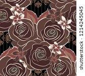 vector watercolor seamless... | Shutterstock .eps vector #1214245045