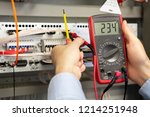electrician measurements with... | Shutterstock . vector #1214251948