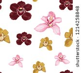 Pink burgundy yellow orchid Phalaenopsis floral seamless pattern. Exotic spring summer flowers in bloom, blossom foliage bouquet on white background.  - stock vector
