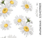 seamless pattern with chamomile ...   Shutterstock .eps vector #1214259835