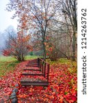 red autumn forest stairway fog... | Shutterstock . vector #1214263762