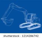 excavator concept outline.... | Shutterstock .eps vector #1214286742