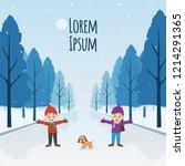 winter design with happy... | Shutterstock .eps vector #1214291365