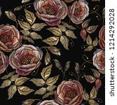 embroidery wild  roses seamless ... | Shutterstock .eps vector #1214292028