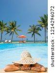 beautiful woman relaxing in a... | Shutterstock . vector #1214296072