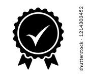 black icon approved or... | Shutterstock .eps vector #1214303452