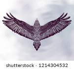hand drawn detailed dove on the ... | Shutterstock .eps vector #1214304532