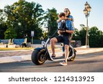 lovely young couple dating with ... | Shutterstock . vector #1214313925