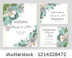 wedding invitation leaves and... | Shutterstock .eps vector #1214328472