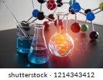science laboratory test tube... | Shutterstock . vector #1214343412
