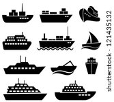 ship and boat icon set | Shutterstock .eps vector #121435132