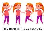 girl schoolgirl kid poses set... | Shutterstock .eps vector #1214364952