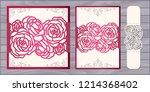 die laser cut wedding card... | Shutterstock .eps vector #1214368402