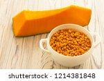 pumpkin and sea buckthorn... | Shutterstock . vector #1214381848