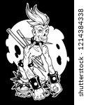 zombie punk. tattoo art ...   Shutterstock .eps vector #1214384338