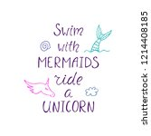 swim with mermaids  ride a... | Shutterstock .eps vector #1214408185