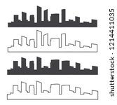 outline urban vector cityscape. ... | Shutterstock .eps vector #1214411035