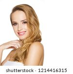 blond beauty in makeup isolated ... | Shutterstock . vector #1214416315